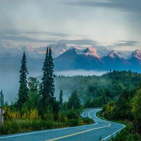 Alaska Range 2 by Russ Crane - Landscapes Mountains & Hills ( mckinley, mountain, denali, alaska, travel, road )