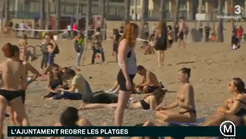 Imágenes de las playas este miércoles en un programa de TV3.