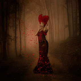 Queen of Hearts  by Helen Quirke  - People Fashion ( wig, hearts, couture gowns, red, queen, fine art, forest, portrait,  )