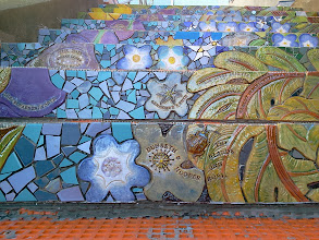 Photo: Detail from third flight of steps (from top) of the Hidden Garden Steps (16th Avenue, between Kirkham and Lawton streets in San Francisco's Inner Sunset District) as KZ Tile workers finished installing more than 50 pieces of the 148-step ceramic-tile mosaic designed and created by project artists Aileen Barr and Colette Crutcher. For more information about this volunteer-driven community-based project supported by the San Francisco Parks Alliance, the San Francisco Department of Public Works Street Parks Program, and hundreds of individual donors, please visit our website at http://hiddengardensteps.org.