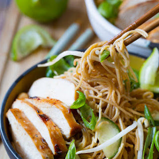 Thai Chicken Noodle Bowl with Peanut Sauce