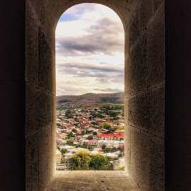 Over looking the city by Leyon Albeza - Instagram & Mobile iPhone ( the past, view, leading lines, over looking, ruins, window, arches )