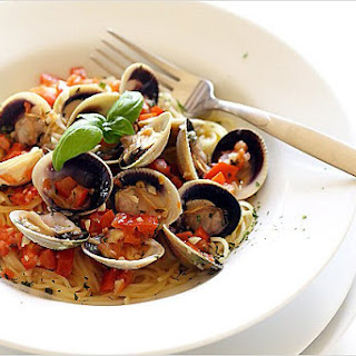 Capellini with Cockle Clams and Lemon Butter Sauce.