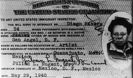 US visa granted to Diego Rivera for his trip to San Francisco for the inauguration of the Golden Gate International Exposition