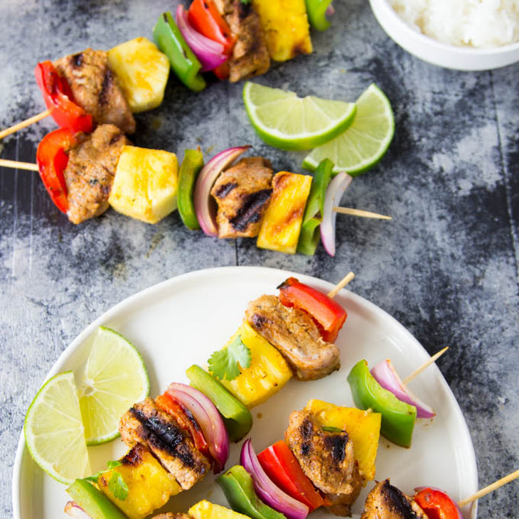 Curry Pork + Pineapple Kabobs