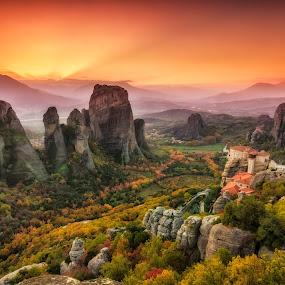 Meteora holy rocks by George Papapostolou - Landscapes Mountains & Hills ( mountains, meteora, sunset, monastery, rocks, landmark, travel,  )