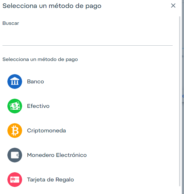 Luego, del listado, escoge el método con el cual deseas hacer el fondeo en Airtm. Si tu método no aparece, puedes configurarlo manualmente, y enviar la solicitud a nuestra red de compañeros, y esperar que alguno la tome.