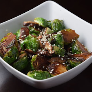 Sesame Brussels Sprouts and Shitake Mushrooms