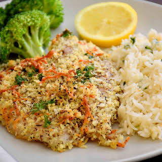 Baked Parmesan Crusted Tilapia with Rice Pilaf and Broccoli.