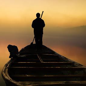Long way to go by XeeShan Ch - People Fine Art ( pakistan, fog, xeeshan, soon valley, boat, morning, alone, uchali lake, mist )