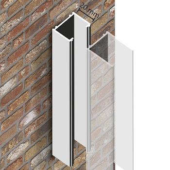 Profilé de compensation, 20 mm, aspect chromé, pour portes et parois MasterClass / Square / Free