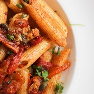 Penne with Harissa Roasted Cauliflower, Tomatoes, Carrot Strips and Capers
