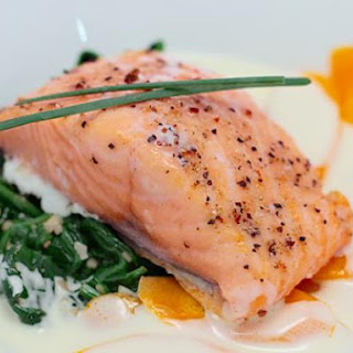 Salmon Confit with Lemongrass Sauce.