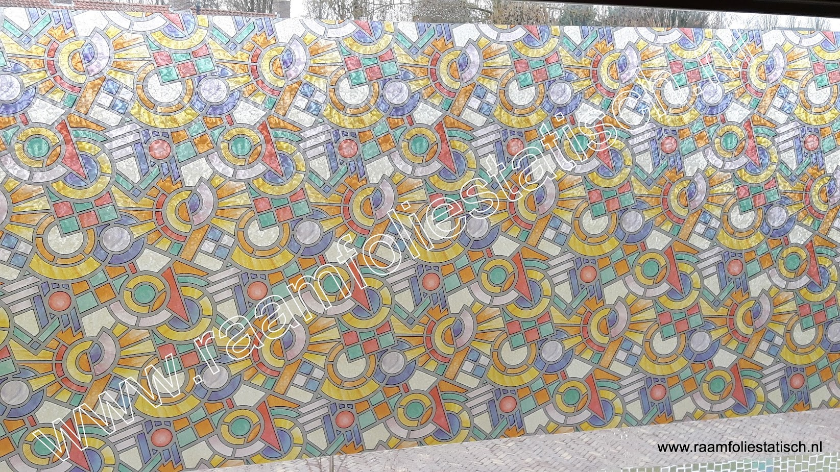 Raamfolie mozaiek glas in lood 67 5cm raamfoliestatisch for Plakplastic raam