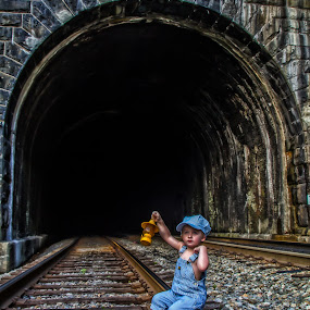 Waiting on the train by Jozette Spacht - Babies & Children Child Portraits