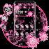 Pink Black Flowers Theme