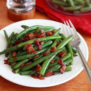 Southern-style Green Beans with Caramelized Onions and Bacon.