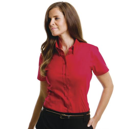 Kustom Kit Ladies' Short Sleeve Corporate Oxford Shirt (Red)