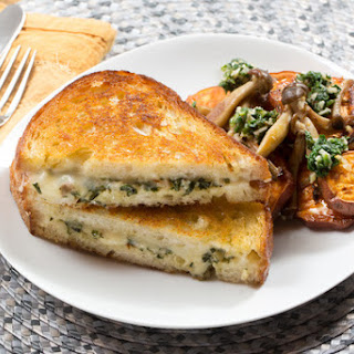 Fontina & Pesto Grilled Cheese Sandwiches with Pioppini Mushrooms & Roasted Sweet Potato Rounds.