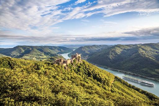 Scenic Jasper. Sails past a castle in the Wachau Valley of Austria.