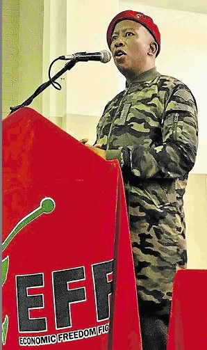 EFF's president Julius Malema addresses party members at the NU12 community hall in Mdantsane on Tuesday evening.
