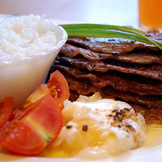 Australian Breakfast Steak with Poached Egg.