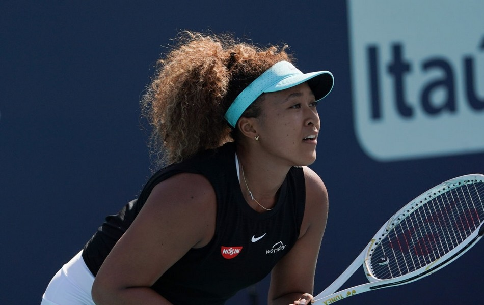 Naomi Osaka in the ready position at the Miami tournament