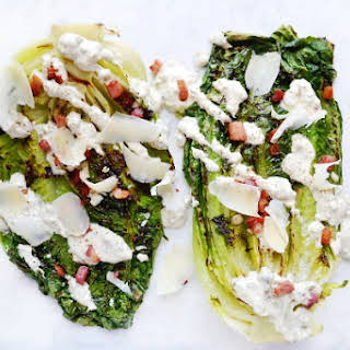 Grilled Romaine Lettuce With Creamy Caper Dressing.