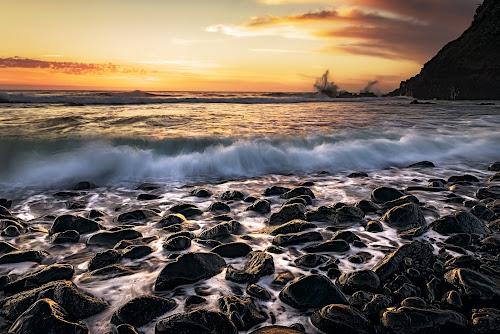 Boulders Beach Sunrise by Matthew Wood - Landscapes Beaches ( waves, sunrise, headland, seascape, rocks, ocean, beach, long exposure, colorful )