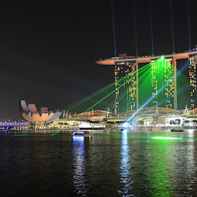 The Marina Bay Sands Singapore by Lindra Hismanto - Travel Locations Landmarks ( sands, lindra, laser show, hismanto, marina bay, singapore )