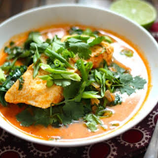 Poached Halibut in Thai Coconut Curry Broth.