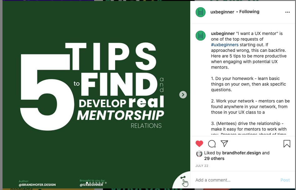 """a screenshot of IG post, text reading """"5 tips to find and develop real mentorship relations"""""""
