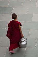 Photo: A young monk carrying a pot of butter tea, Thikse Monastery, Ladakh, Indian Himalayas