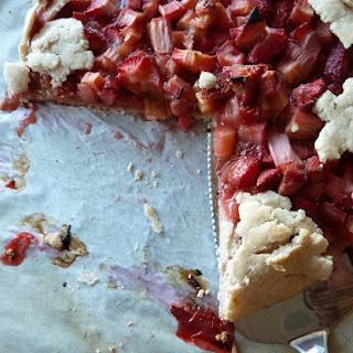 (Very) Rustic Gluten Free, Low Sugar Strawberry Rhubarb Tart.