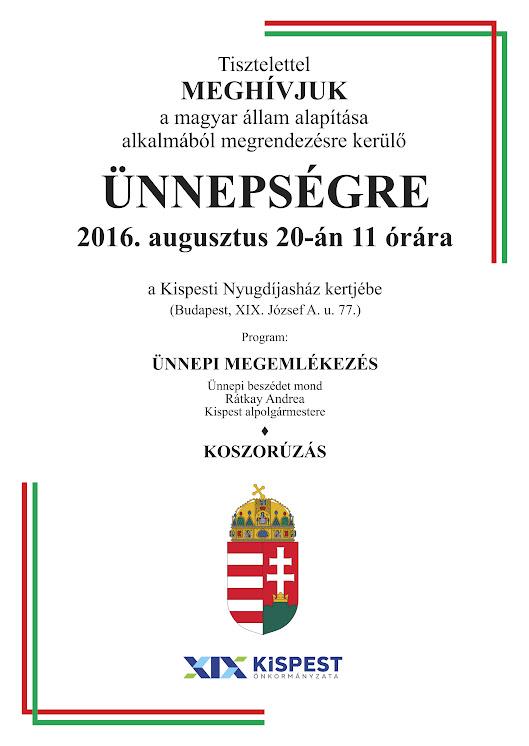 Az államalapítás ünnepe Kispesten