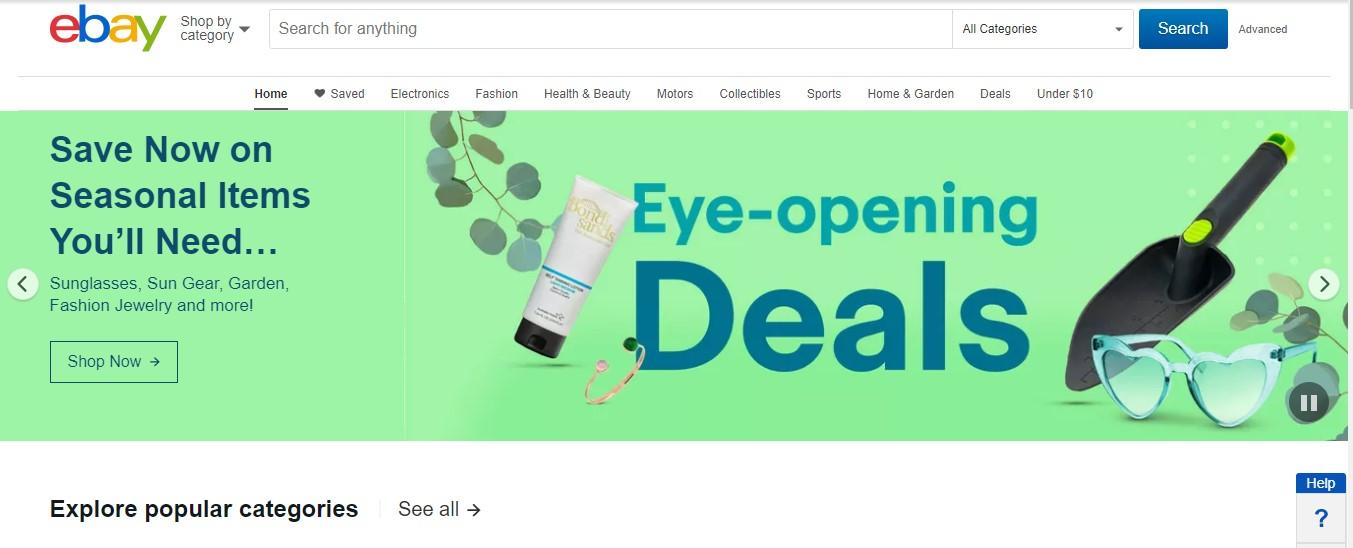 La página de aterrizaje de Ebay.