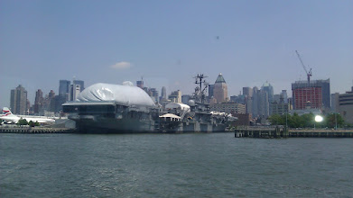 Photo: Aircraft Carrier Intrepid floating museum. Thats the Space Shuttle Enterprise under the bubble.