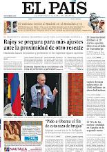 """Photo: Rajoy se prepara para más ajustes ante la proximidad de otro rescate, Assange pide el fin de la """"caza de brujas"""" y el Valencia resiste al Madrid en el Bernabéu, en la portada de la edición nacional de EL PAÍS en la edición nacional del lunes 20 de agosto de 2012 http://srv00.epimg.net/pdf/elpais/1aPagina/2012/08/ep-20120820.pdf"""