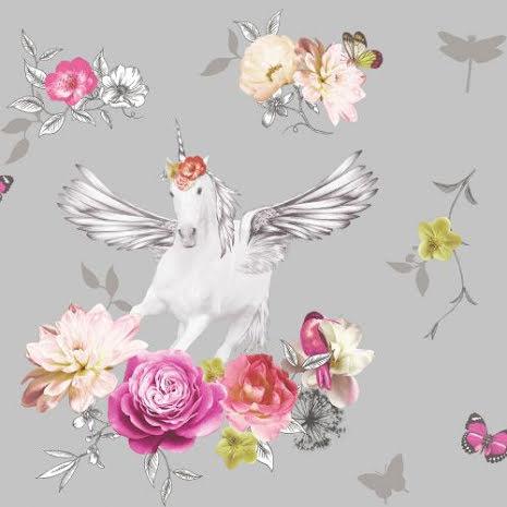 Tapet med enhörning och glitter Fantasia Anastasia Unicorn från Arthouse - Silver 692303