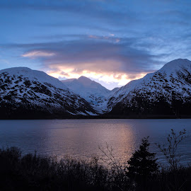 Portage Lake at Dusk by Patricia Phillips - Landscapes Travel ( alaska portage lakes dusk )