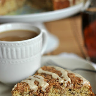 Classic Banana Streusel Coffee Cake with Maple Glaze