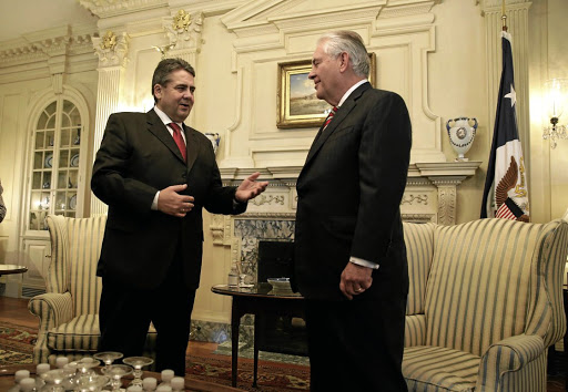 US Secretary of State Rex Tillerson, right, meets German Foreign Minister Sigmar Gabriel at the US State Department in Washington on February 2 2017. Picture: Reuters