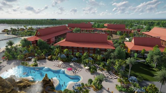 The longhouses and freeform shaped Lava Pool at Disney's Polynesian Village Resort near Orlando, Florida front the waters of the Seven Seas Lagoon.