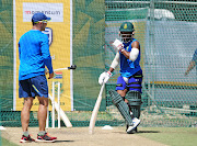 Mark Boucher and Temba Bavuma during net sessions.