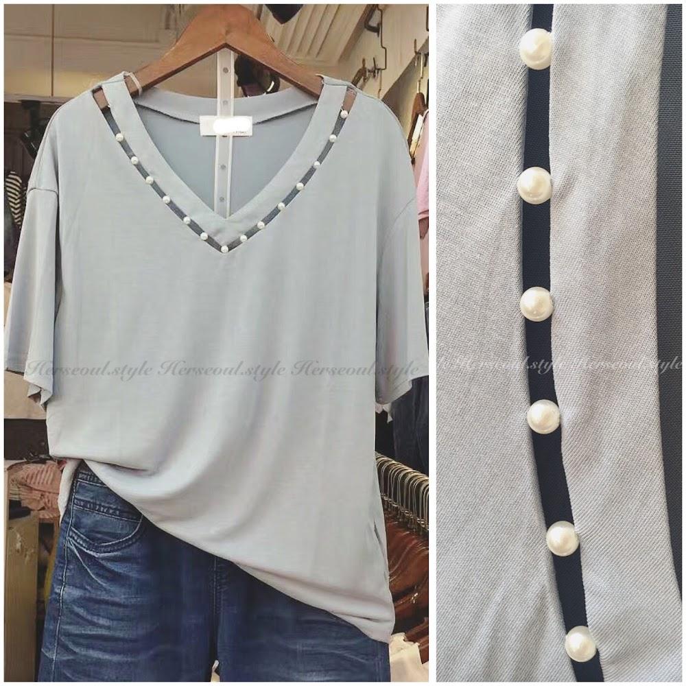 ❇️滑棉珍珠V領top❇️