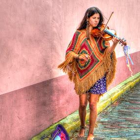 Beautiful Street Musician by John Larson - City,  Street & Park  Street Scenes ( violin, woman, beauty, street, wall )