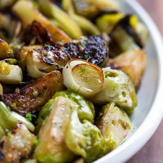Pan Roasted Brussels Sprouts with Ginger.