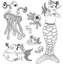 Dylusions Cling Stamps 8.5X7 - Plenty More Fish In The Sea