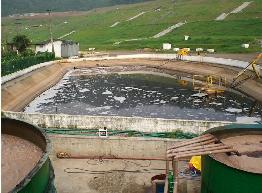 Aterro sanitário e lagoa de Lixiviado