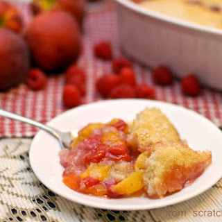 Southern-style Peach and Raspberry Cobbler